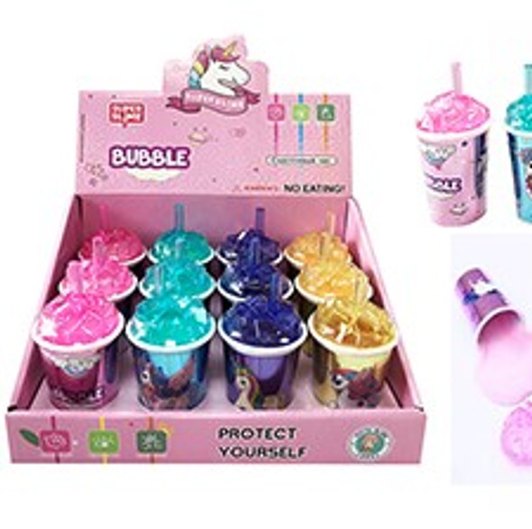 NEW COOL Ice Cube Look Super Slime Unicorn Theme 12 per display bx . 92 each