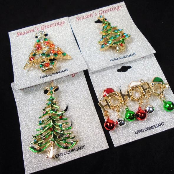 "1.5""-2"" Cast & Stone Christmas Broaches 4 styles .62 each"