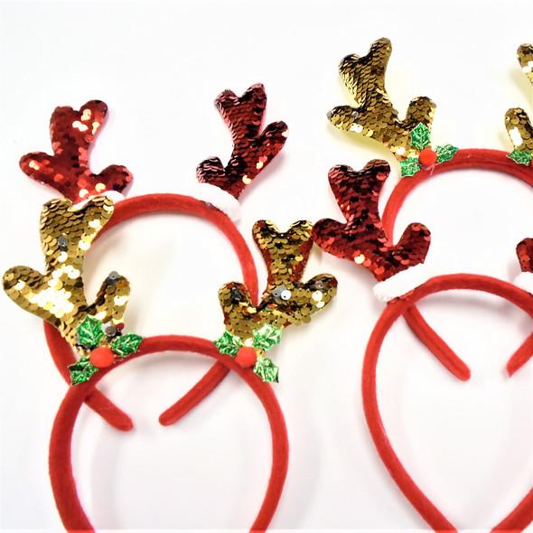 Festive Sequin Rudolph Antler Headbands  2 colors .60 each