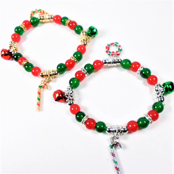 Red & Green Beaded Christmas Bracelet w/ Jingle Bells & Charms .56 ea