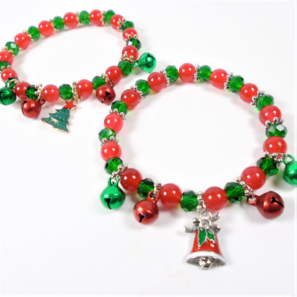 Red - Green Christmas Beaded Bracelets w/ Charm & Bells .56 each