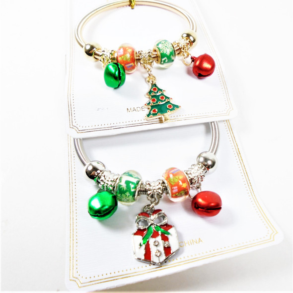 Gold & Silver Spring Style Christmas Bracelets  w/ Mixed Charms & Bells  .58 each