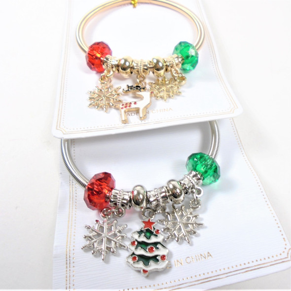 Gold & Silver Spring Style Christmas Bracelets  w/ Snowflake,& Mixed Charms & Bells  .58 ea