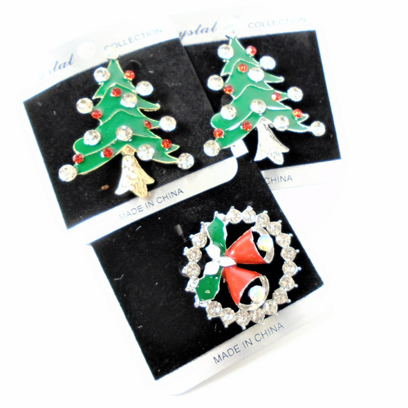 "2"" Christmas Tree & Wreath Cry. Stone Broaches  .58 each"