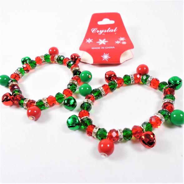 KIDS Christmas Theme  Bracelets w/ Crystal Beads & Jingle Bell (2127)  .56 ea