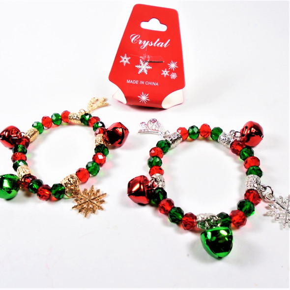 KIDS  Christmas Theme Gold & Silver  Bracelets w/ Mixed Charms & Bells   .56 each