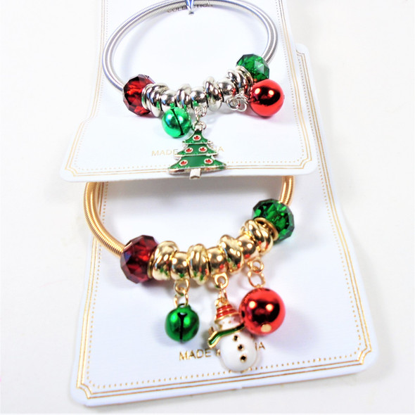 Gold/Silver Spring Style Christmas Bracelets  w/ Mixed Charms & Bells  .58 ea