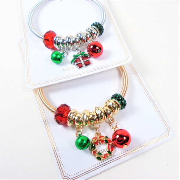 Gold-Silver Spring Style Christmas Bracelets  w/ Mixed Charms & Bells  .58 ea