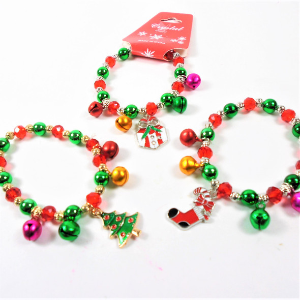 KIDS  Christmas Theme Gold & Silver  Bracelets w/ Mixed Charms & Bells (35)  .56 each