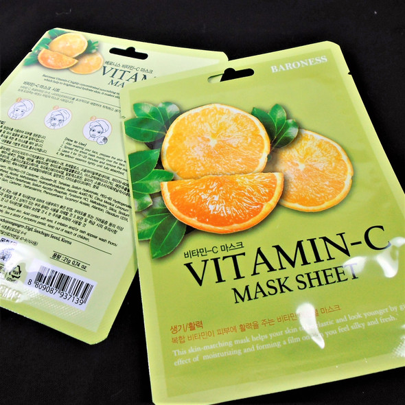Vitamin C Face Mask  (Korea Made) 5 per pk Only .55 each mask