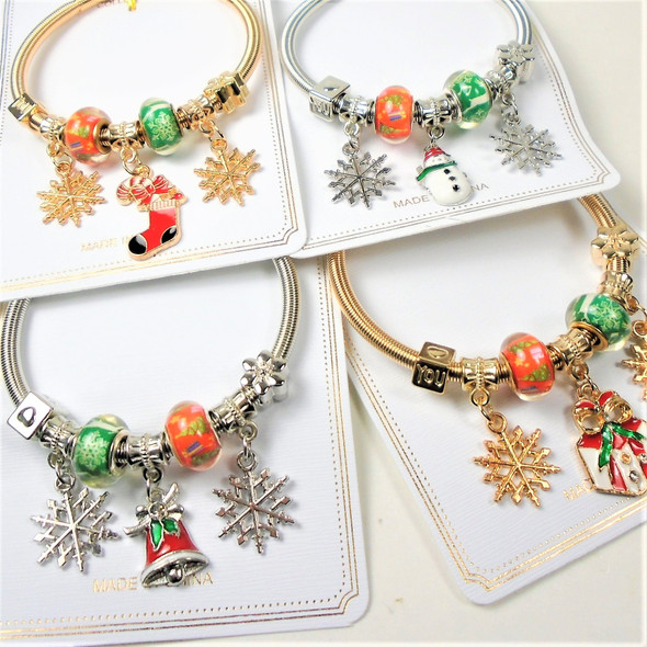 POPULAR PICK Christmas Theme Gold & Silver Spring Style Bracelets w/ Mixed Charms  .58 ea