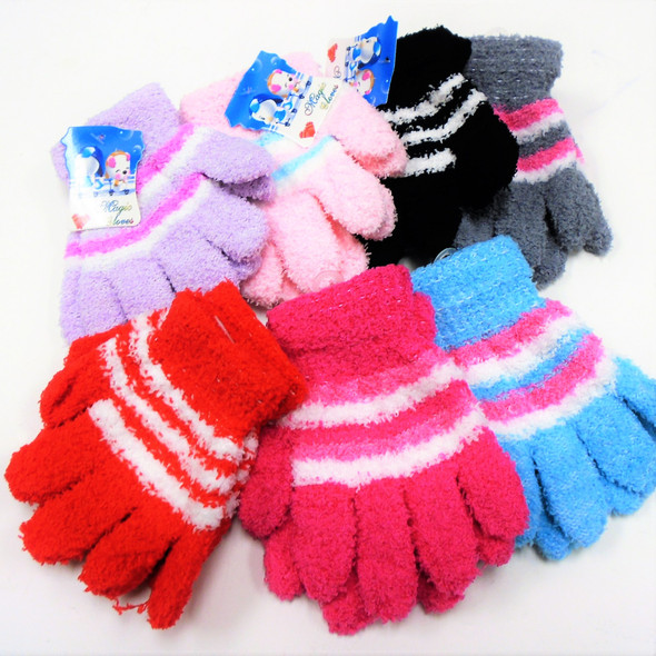 Children's Fuzzie Warm Winter Gloves Stripped Pattern .56 per pair