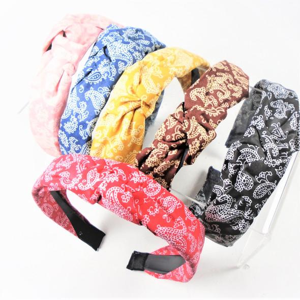 "1.5"" Paisley Look Fashion Headbands w/ Knot Asst Colors .56 each"