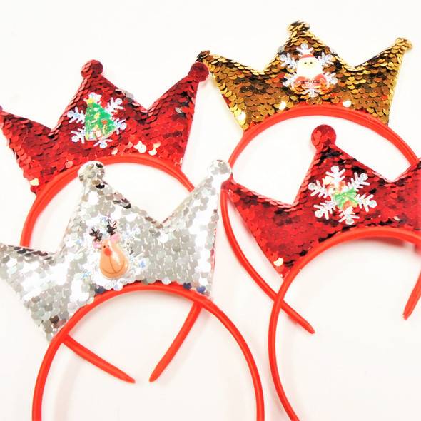 Sequin Crown Headbands w/ Christmas Ornament  .56 each