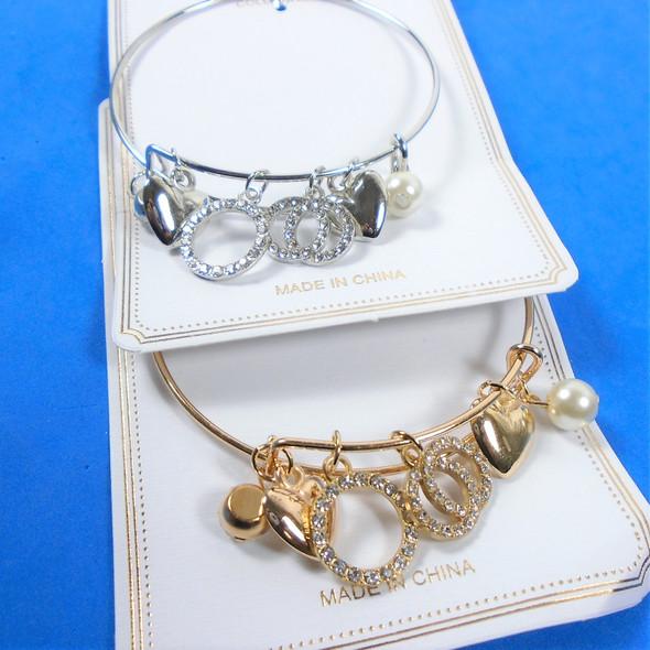 Gold & Silver Wire Bangle Bracelet w/ Mixed Fashion  Charms (3868) .56 ea