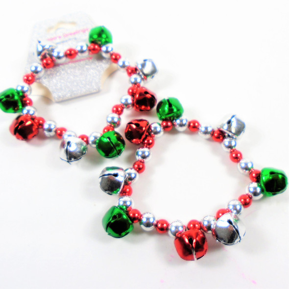 Christmas Beaded Stretch Bracelets w/ Lg. Jingle Beads  .54 ea