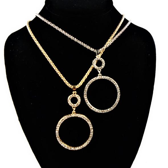 "18"" Gold & Silver Chain Neck Set w/ Cry. Stone Circle of Life  Pendant  .63per set"