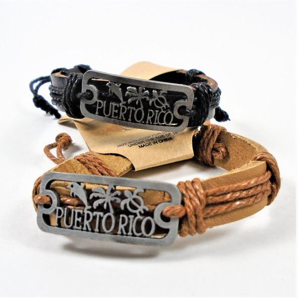 Teen Leather Bracelet w/ Puerto Rico Plaque   .54 ea