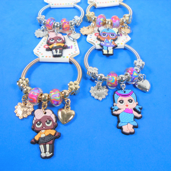 KID'S Mix Charm Theme Spring Style Fashion Bracelets Gold/Sil .56 ea