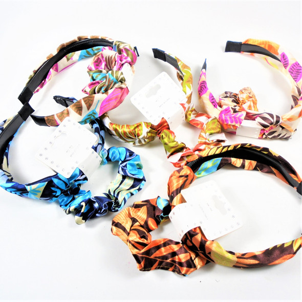 Fashion Headband w/ Knot & Scrungi Set Tropical Pattern   .56 per set