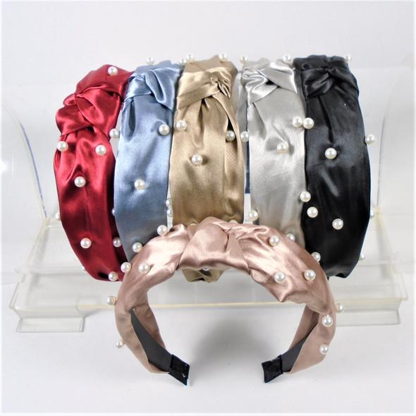"""1.5"""" Wide Satin Fabric Fashion Headbands w/ Knot & Pearls  Dark Mix  .56 ea"""