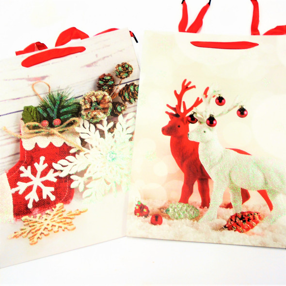 Best Quality Lg. Size Christmas Gift Bags 4 styles  Mix Glitter (68)  .55 each