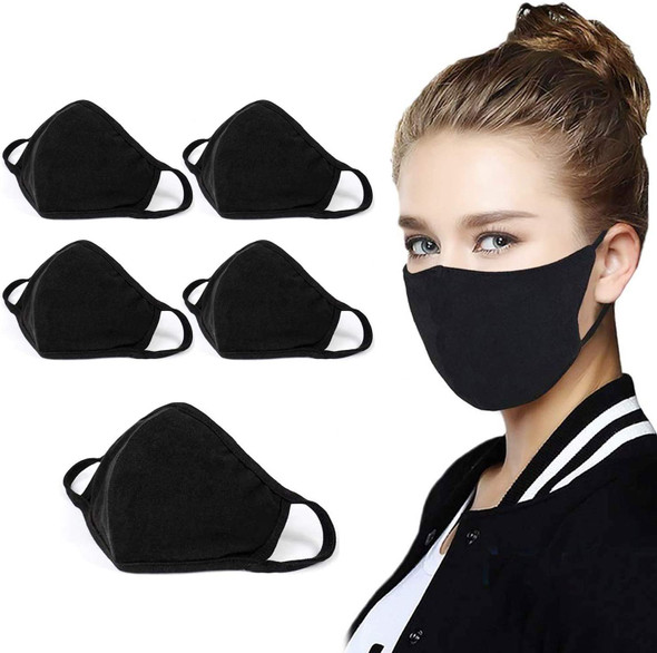 Black Soft Fabric  DBL Sided Reusable Protective Face Mask  12 per pk $ .55  ea