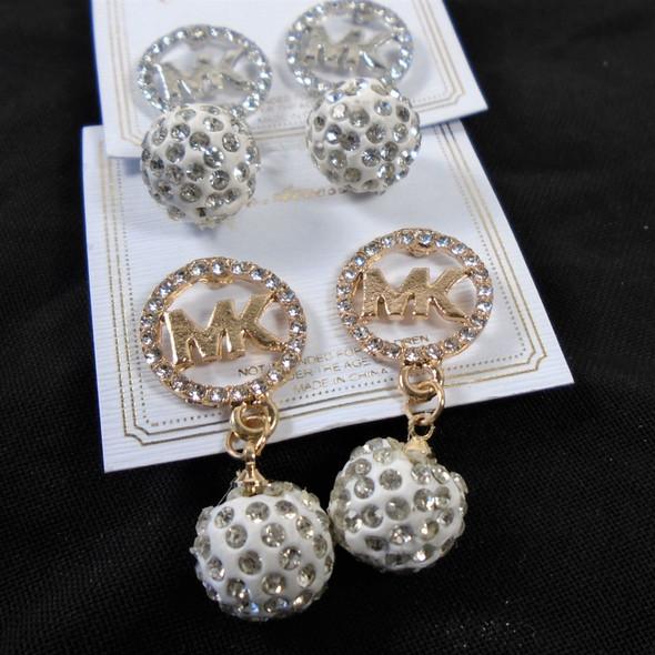 "1.5"" Gold & Silver Crystal Fire Ball Drop Fashion Earrings  .60 per pair"