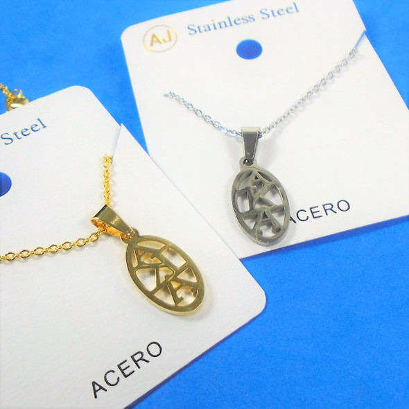 Gold & Silver Stainless Steel AKA Pend. Necklace   12 per pk  .58 each