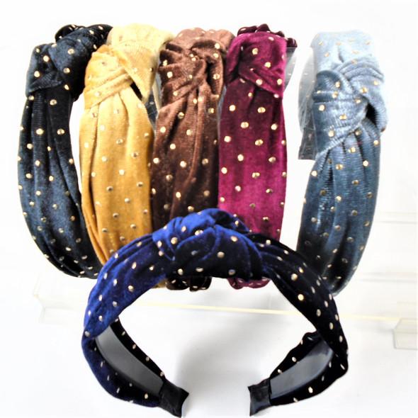 "1.5"" Gold Stud Pattern Velvet Fashion Headbands w/ Knot .56 each"