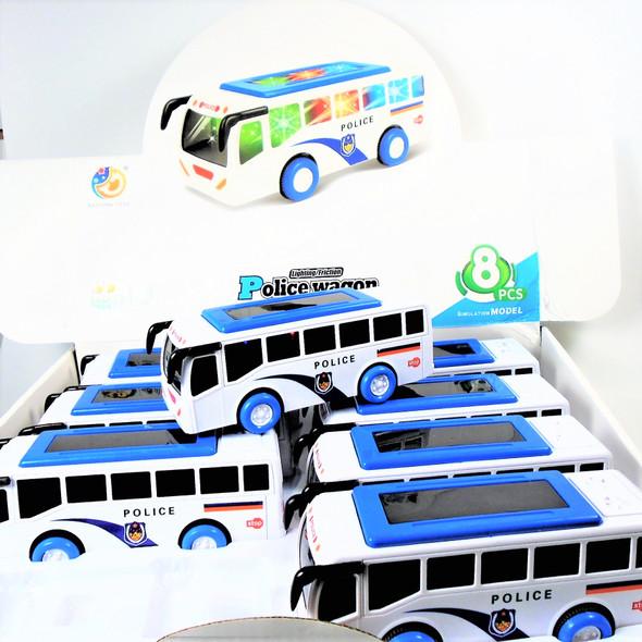 "2"" X 6"" Light & Sound Friction Police Wagon 8 pcs per display $ 2.25 ea"