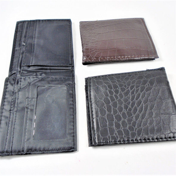 Men's Leather Look Textured Bi Fold Wallets  2 colors   .58 each