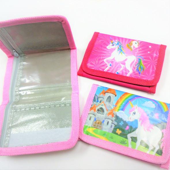 2 Style 3 D Unicorn Tri Fold Wallets  12 per pk  .56 ea