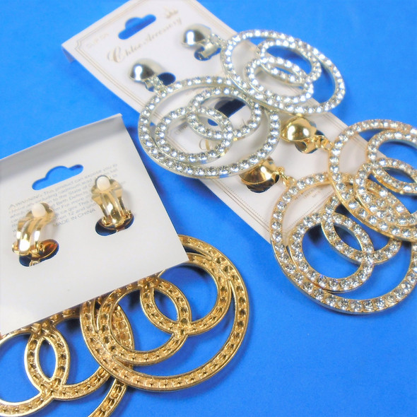 "2"" Gold & Silver Crystal Stone Hi Fashion Earrings Triple Rings CLIP ON  .58 per pair"