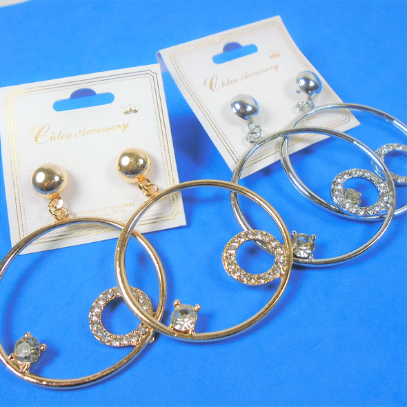 "Stylish 1.5"" Gold & Silver Hoop Earrings w/ Crystal Stones   .56 per pair"