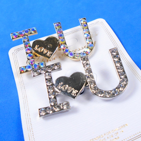 """Perfect Gift 1.5"""" Gold/Sil Crystal Stone I Love You Broach .58 each"""