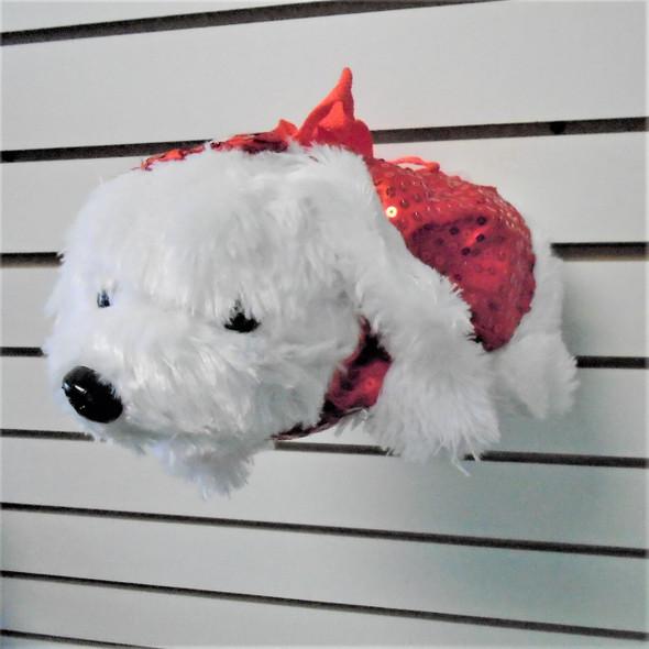 "13"" White Puppy Sequin Plush Handbag  12 per pk $ 3.25 ea"