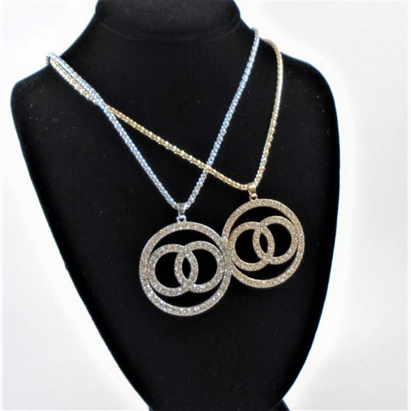 "Gold & Silver 18"" Chain Neck Set w/ Cry. Stone Triple Circle  Pendant  .60 per set"