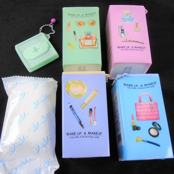 """Square Plastic Can 3.5"""" Glamour Theme Keychain  w/ Wet Wipes .65 each"""