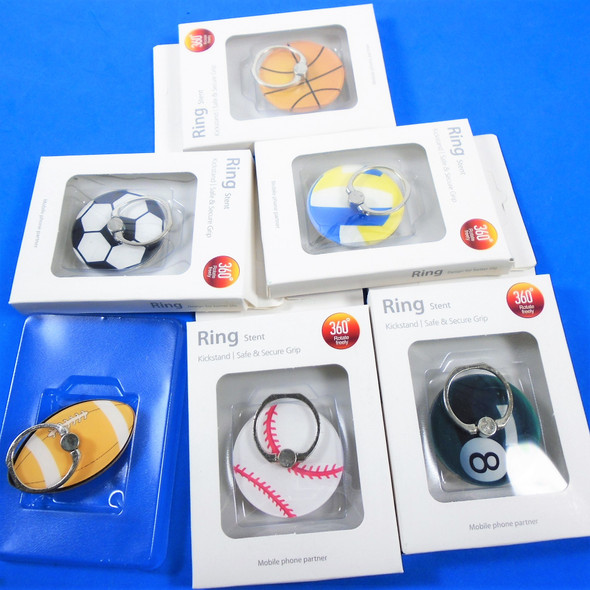 Mixed  Style Sports Theme Ring Hook Phone Holders 12 per pk .50 each