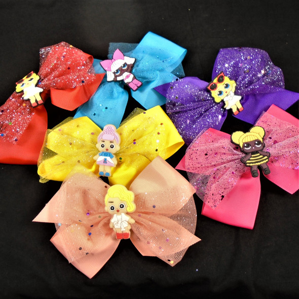 "6"" Kids Theme Gator CLip Bows w/ Sparkle Lace 12 colors"
