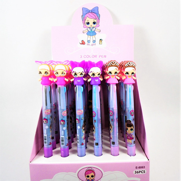 "So Cute 6.5"" 3 Color Kids Theme Fashion Pens 36 per bx  .58 each"