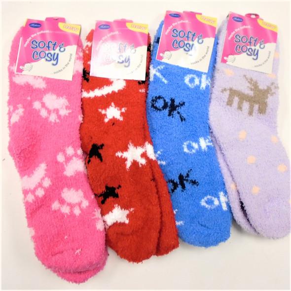 Thick ,Soft & Comfy COZY Socks Mix Color & Mixed Prints   .65 per pair