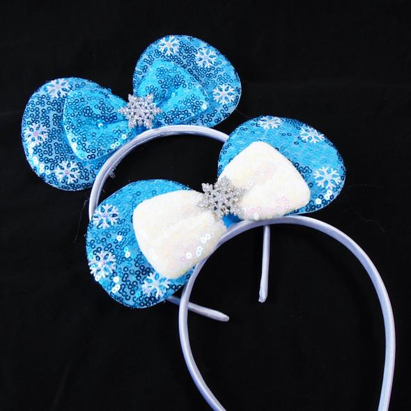 Popular Wintery Blue Sparkle Snowflake Headbands  .58 ea