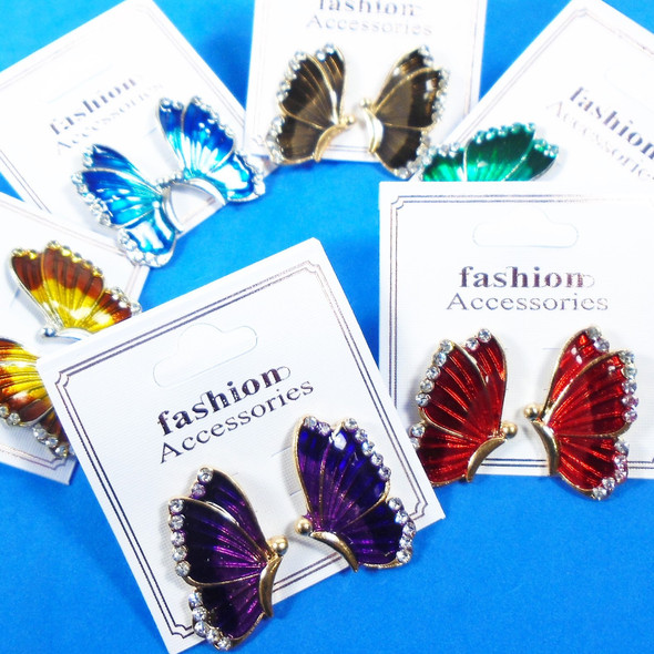 "1.25"" Colorful Butterfly Pcd Earrings w/ Mini Crystals .54 per pair"