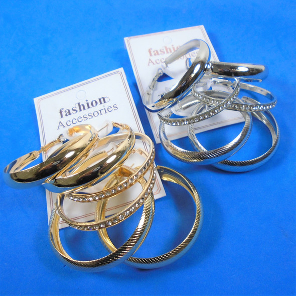 Value Pack 3 Pair Best Quality Fashion Earrings Hoops Gold/Sil   .56 per set