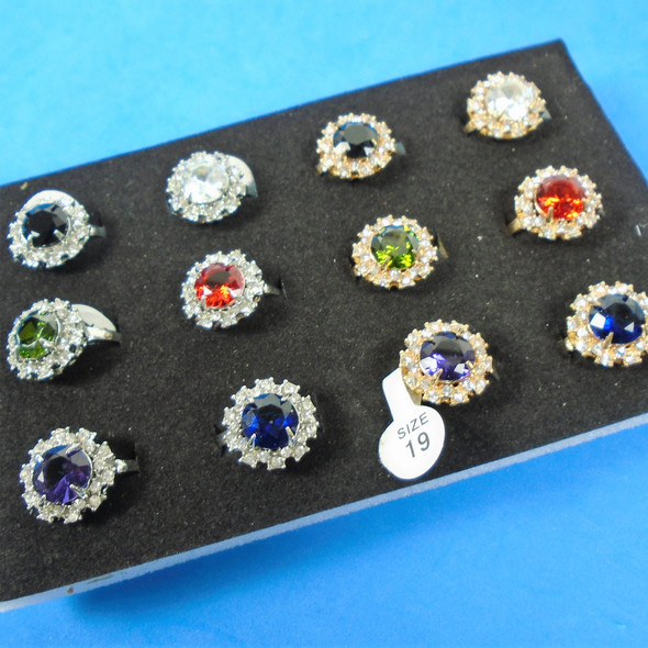 Gold & Silver Cubic Stone Fashion Rings 12 per bx .50 ea