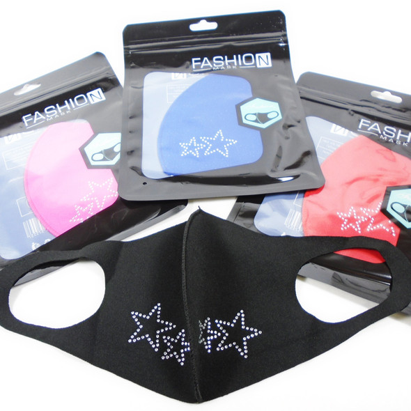 DBL Star Theme Stone Face Masks Washable & Reusable 12 per pk  .65 each