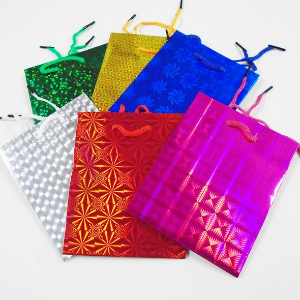 "Hologram Gift Bags Small Size Asst Colors 4.5"" X 5.5"" .25 ea"