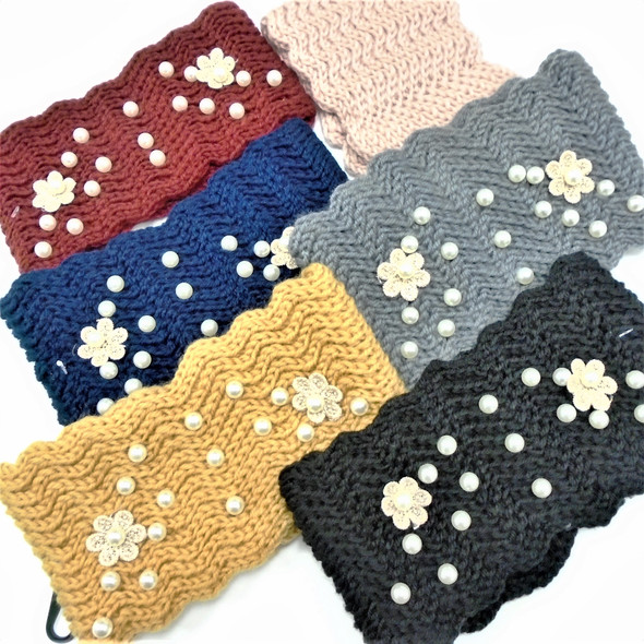 "Upgraded Quality 4"" Wide Stretch Knit Winter Headbands w/ Pearls (1105)   $ 2.50  ea"